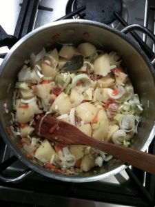 Leek and Potatoe in the pot