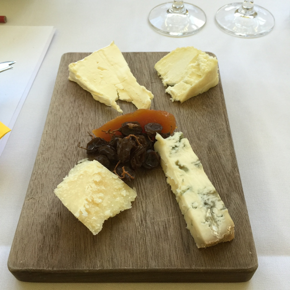 Four of the cheeses tasted with some quince paste and dried sultanas to accompany.