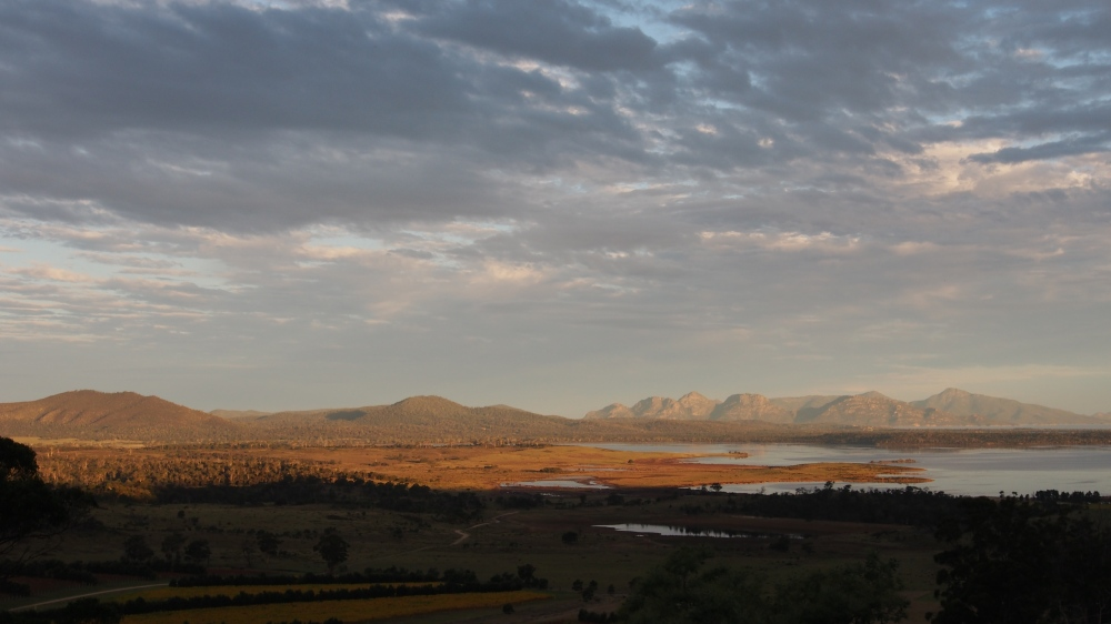 Looking across Coles Bay to Freycinet National Park, Tasmania
