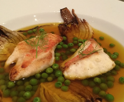 Fish, fennell and peas in a simple broth