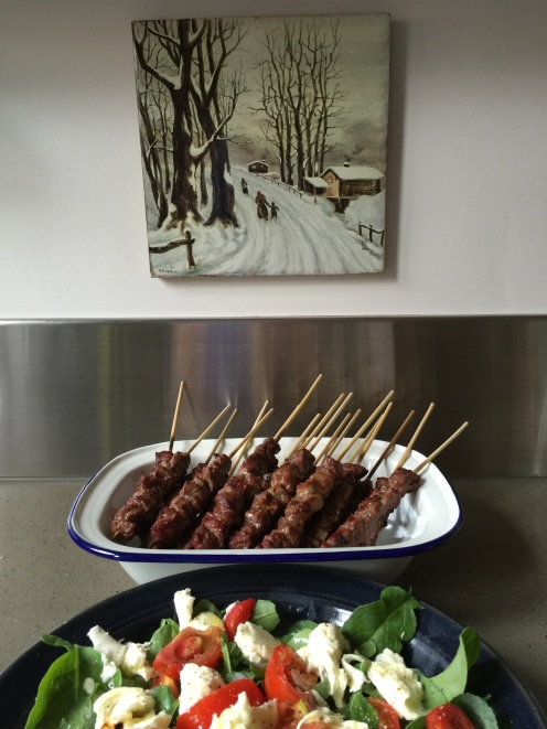 Celebrating Australia Day in the Abruzzo-Aussie way. Lamb arrosticini and a caprese salad.