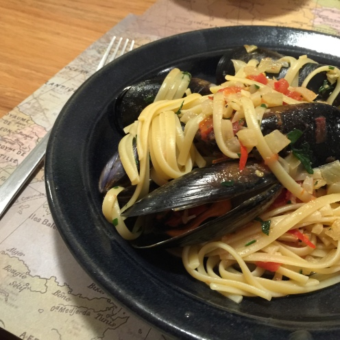 My mother's favourite meal; mussels and spaghetti.