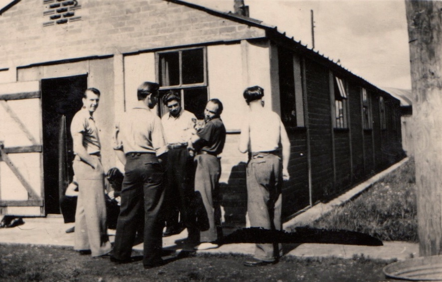 Roberts far left with other war prisoners WWII - England